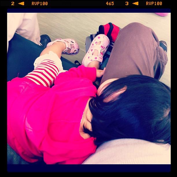 最理想的回程:小幸福枕在大腿上睡著了。