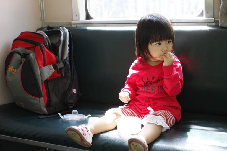 自己坐火車...才怪。